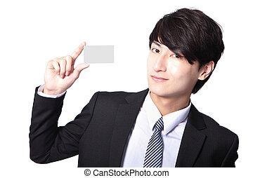 homme, carte affaires, main