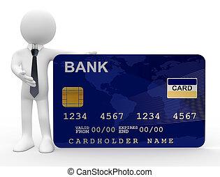 homme, carte, crédit, projection