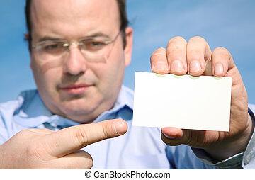 homme, carte, mains