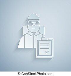 homme, carton, papier, style., vecteur, isolé, icône, gris, ...