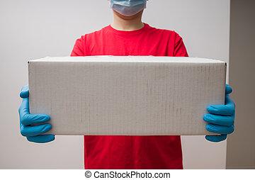 homme, carton, tenue, gloves., boîtes, caoutchouc, protecteur, livraison