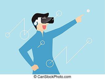 homme, casque à écouteurs, réalité, virtuel, utilisation