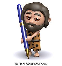 homme cavernes, 3d, stylo, écriture