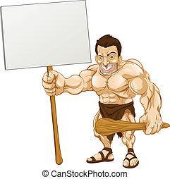 homme cavernes, dessin animé, tenue, signe