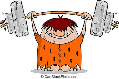 homme cavernes, poids, dessin animé, levage