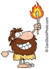 homme cavernes, torche, haut, tenue, heureux
