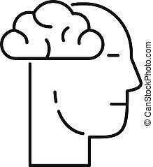 homme, cerveau, icône, contour, recherche, style