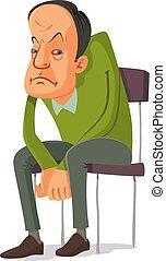 homme, chaise, séance