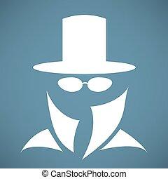 homme, chapeau, icône