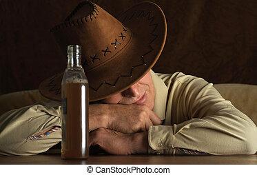 homme, chapeau, mûrir, cow-boy