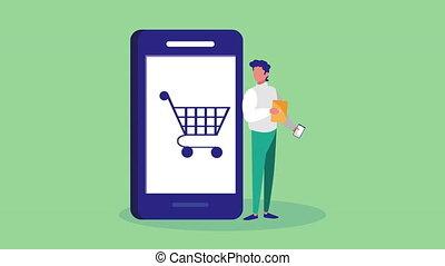 homme, charrette, achats, utilisation, mobile, smartphone, technologie, animation