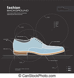 homme, chaussures, vector., design.