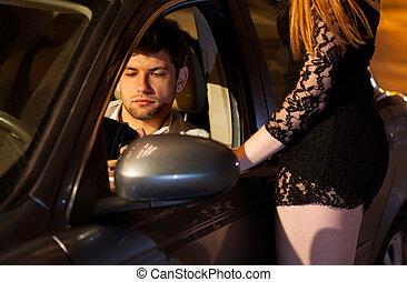 homme, chercher, argent, pour, prostituée