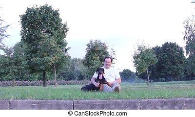 homme, chien, jouer
