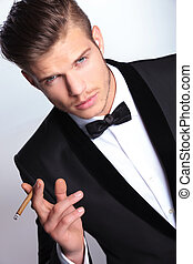 homme, cigare, business, main