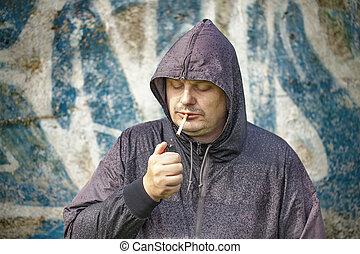homme, cigarette