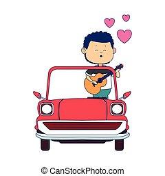 homme, classique, coloré, conception, chant, icône, voiture
