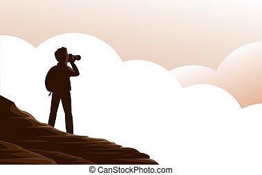 homme, clouds., touriste, au-dessus, montagnes, appareil photo