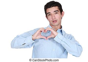 homme, coeur, sien, confection, mains
