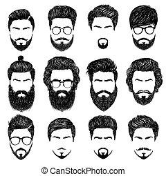 homme, coiffures, barbu