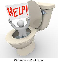 homme, collé, dans, toilette, tenue, signe aide, -, urgence, sos