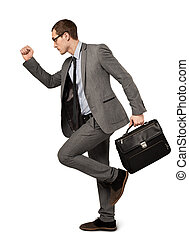 homme, complet, isolé, business, valise