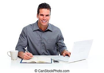 homme, computer., fonctionnement, ordinateur portable