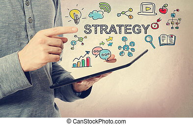 homme, concept, jeune, pointage, stratégie