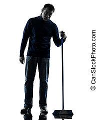 homme, concierge, brooming, nettoyeur, ennui, silhouette, longueur pleine
