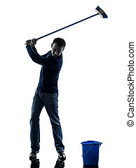 homme, concierge, brooming, nettoyeur, jouer golf, silhouette, longueur pleine