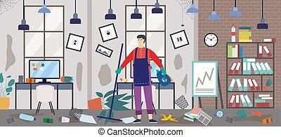 homme, concierge, bureau, ou, sale, fond, vecteur, plat, illustration.