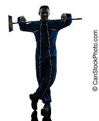 homme, concierge, nettoyeur, nettoyage, silhouette