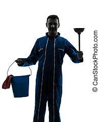 homme, concierge, plombier, silhouette