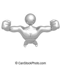 homme, constructeur, fort, corps