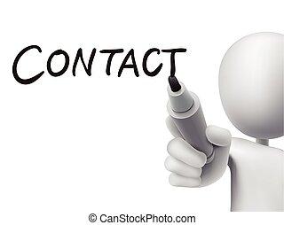 homme, contact, 3d, mot, écrit