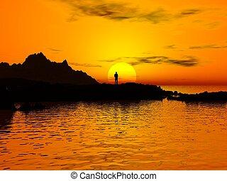 homme, coucher soleil