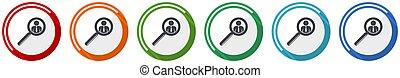 homme, couleurs, illustration, métier, mobile, icône, personne, humain, 6, options, conception, ensemble, plat, recherche, applications, webdesign, vecteur