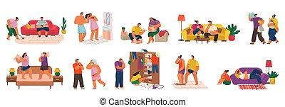 homme, couple, amour, femme, collection, maison