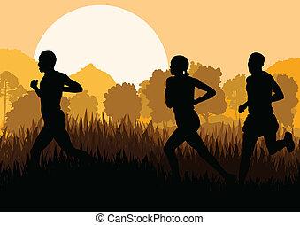 homme, coureurs marathon, femmes