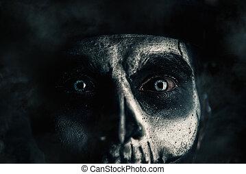 homme, crâne, closeup