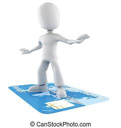 homme, crédit, surfer, carte, 3d