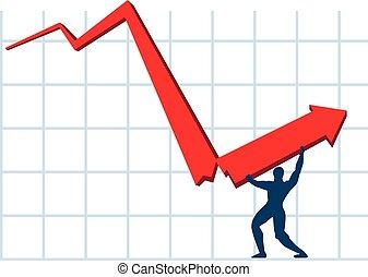 homme, crisis., métaphore, économique, idea., vectorial., résoudre