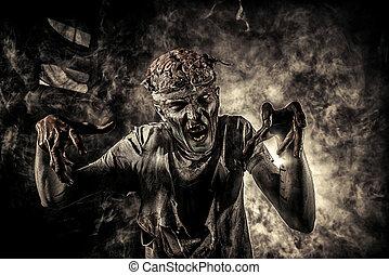 homme, cruel, zombi