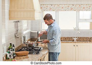 homme, cuisine, cuisine, beau