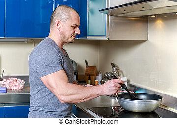 homme, cuisine maison, cuisine, beau