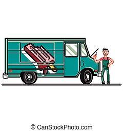 panne voiture panne silhouette voiture isol bas cass camion fond blanc. Black Bedroom Furniture Sets. Home Design Ideas