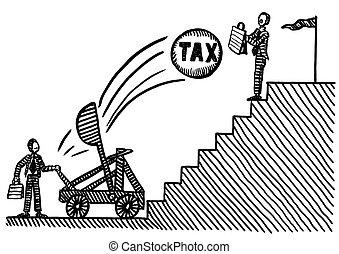 homme, défendre, impôt, lui-même, business, dessiné, contre