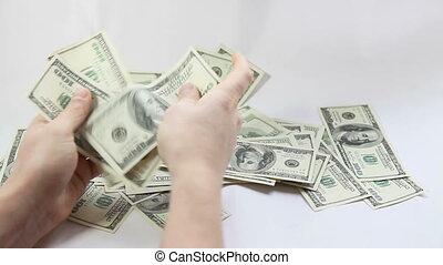 homme, dénombrement, dollars américains