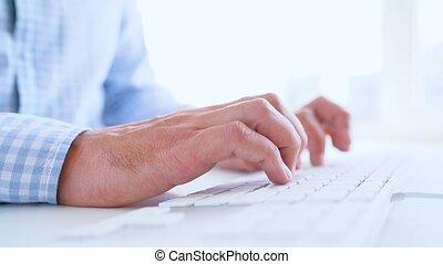homme, dactylographie, ouvrier, bureau, clavier