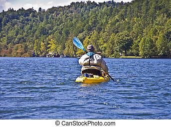 homme, dans, a, kayak
